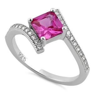 Jewelry - Princess Cut Pink CZ Sterling Ring